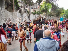 Traditional Aztec dance. This huge group wasn't busking for money, they were just boogie-ing down.